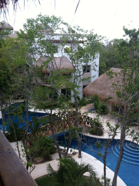 Zama Village Tulum condo for rent pool view from terrace